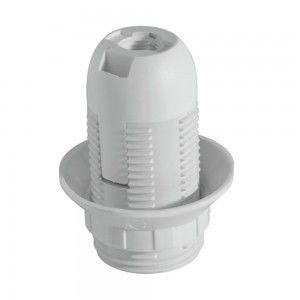 термопластична фасунга Е14 резба+ринг VIVALUX бяло